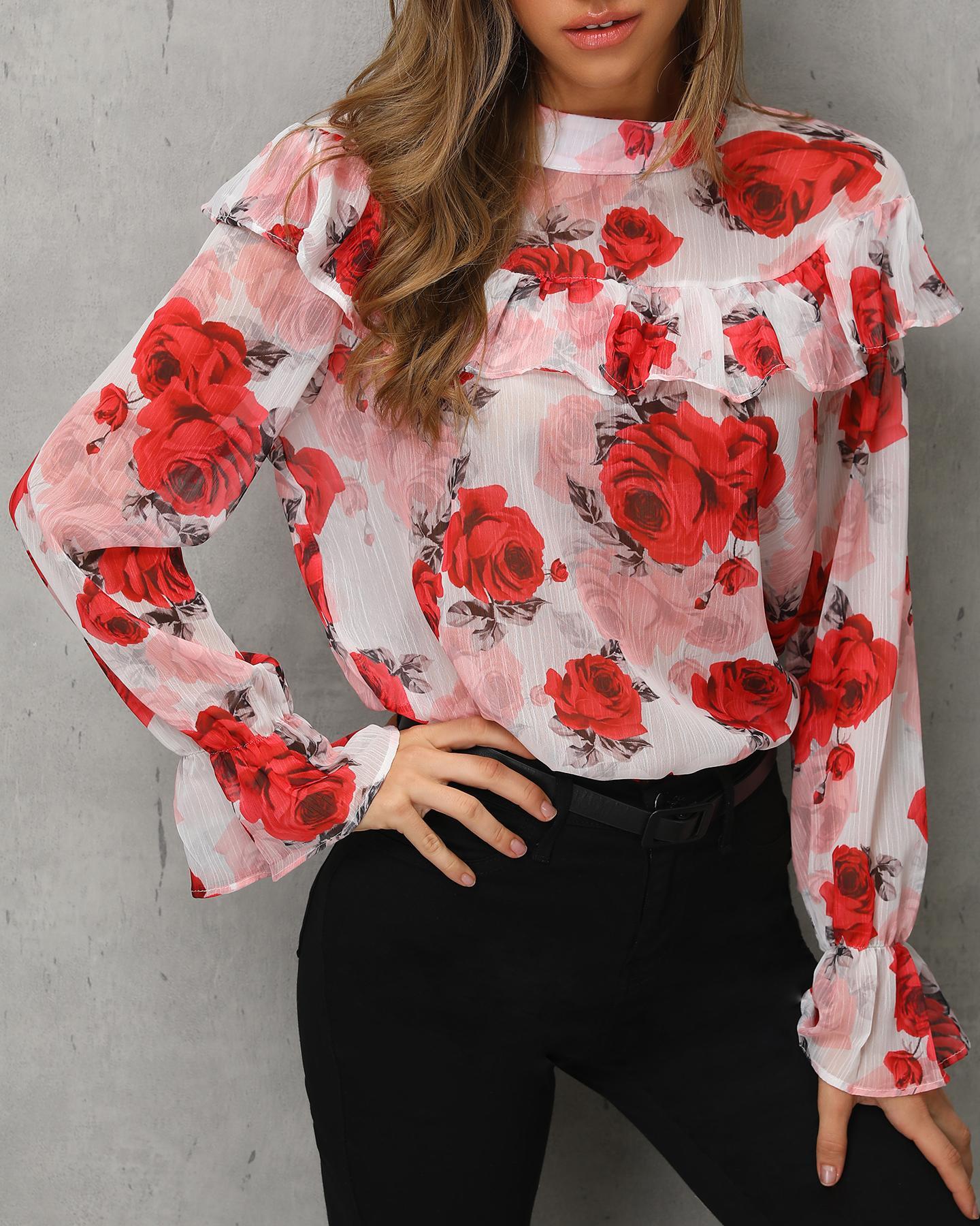 Floral Print Ruffles Casual Blouse