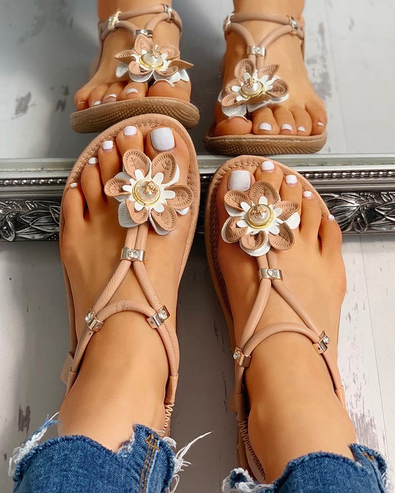 Flower Embellished Toe Post Flat Sandals фото