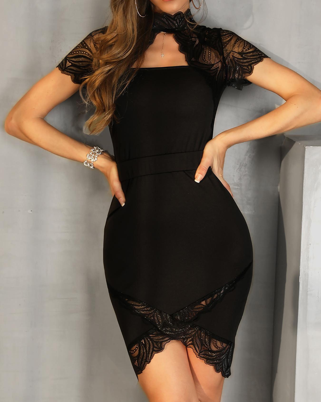 Mock Neck Lace Embelished Bodycon Dress