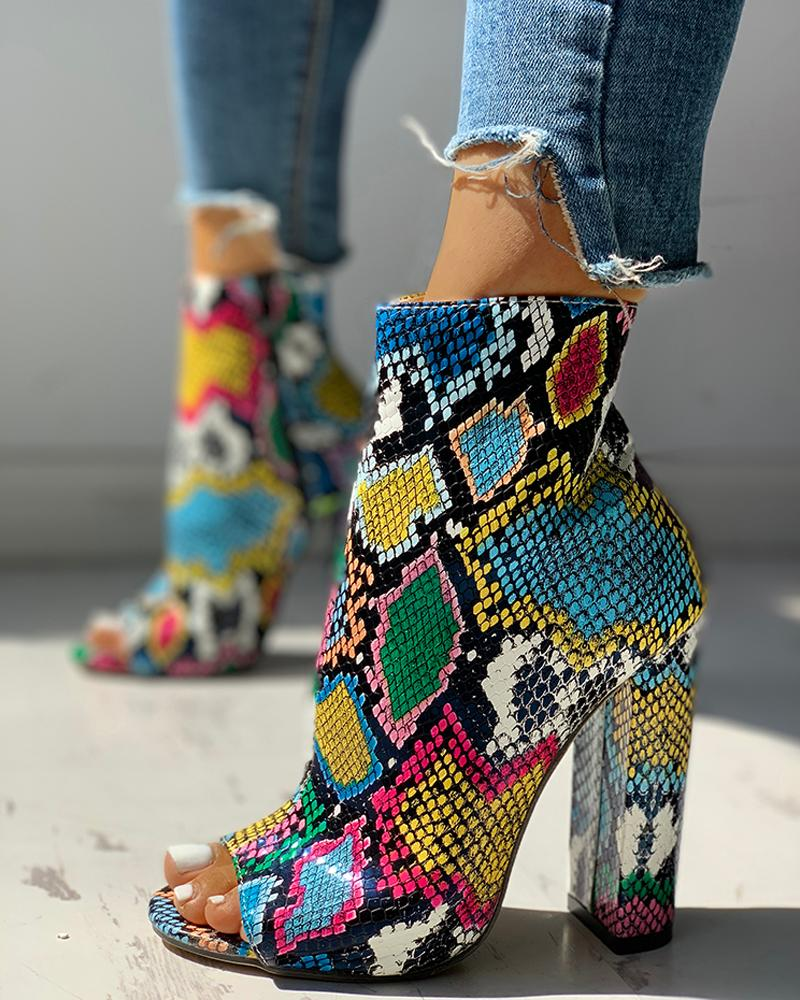 joyshoetique / Colorful Snakeskin Chunky Heeled Boots