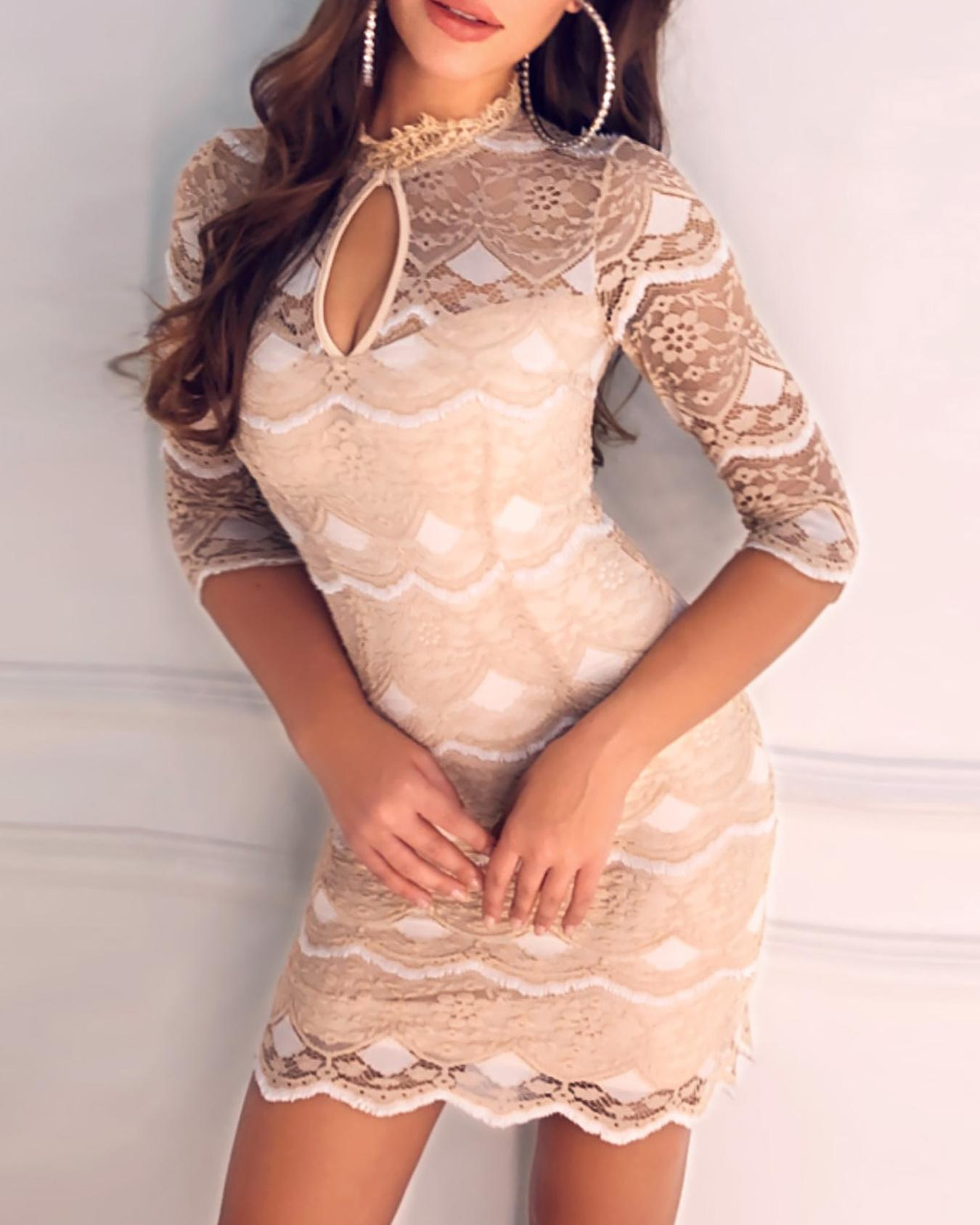Keyhole Fringe Bodycon Lace Dress