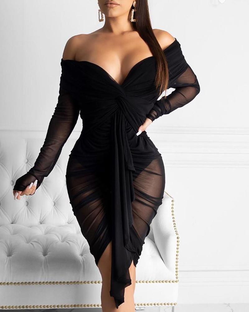 ivrose / Vestido ajustado drapeado con pliegues y hombros descubiertos