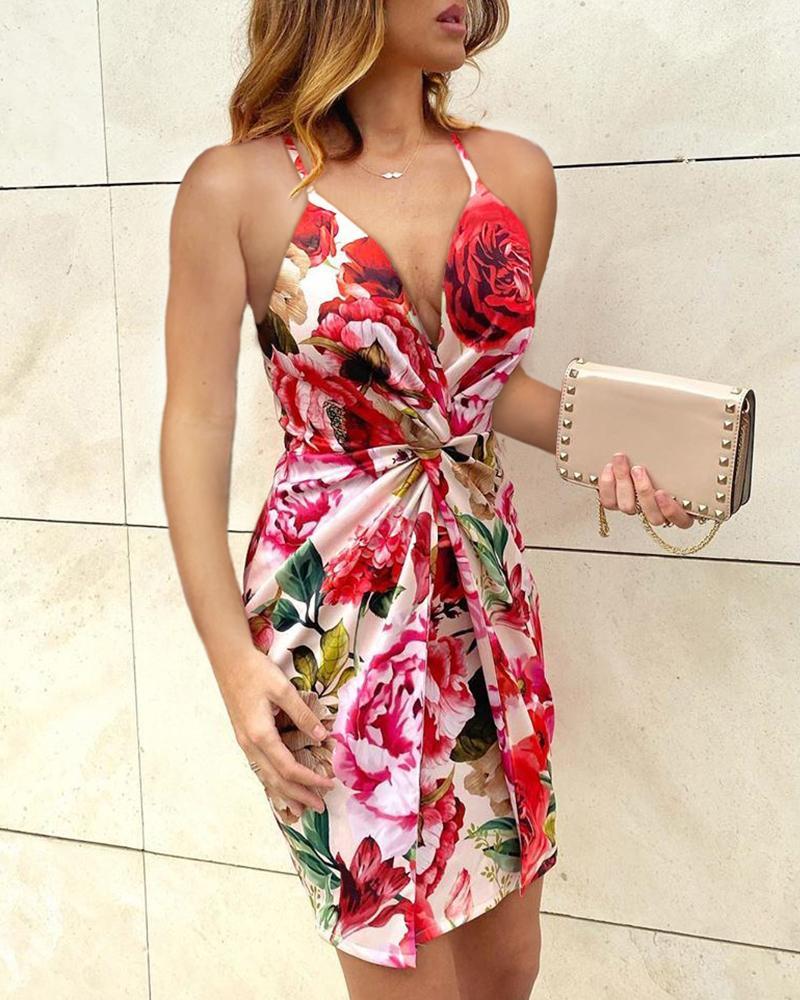 boutiquefeel / Vestido torcido com estampa floral e cinta de espaguete