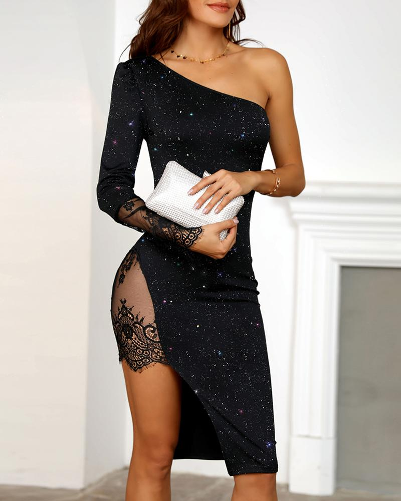 One Shoulder Lace High Slit Party Dress фото