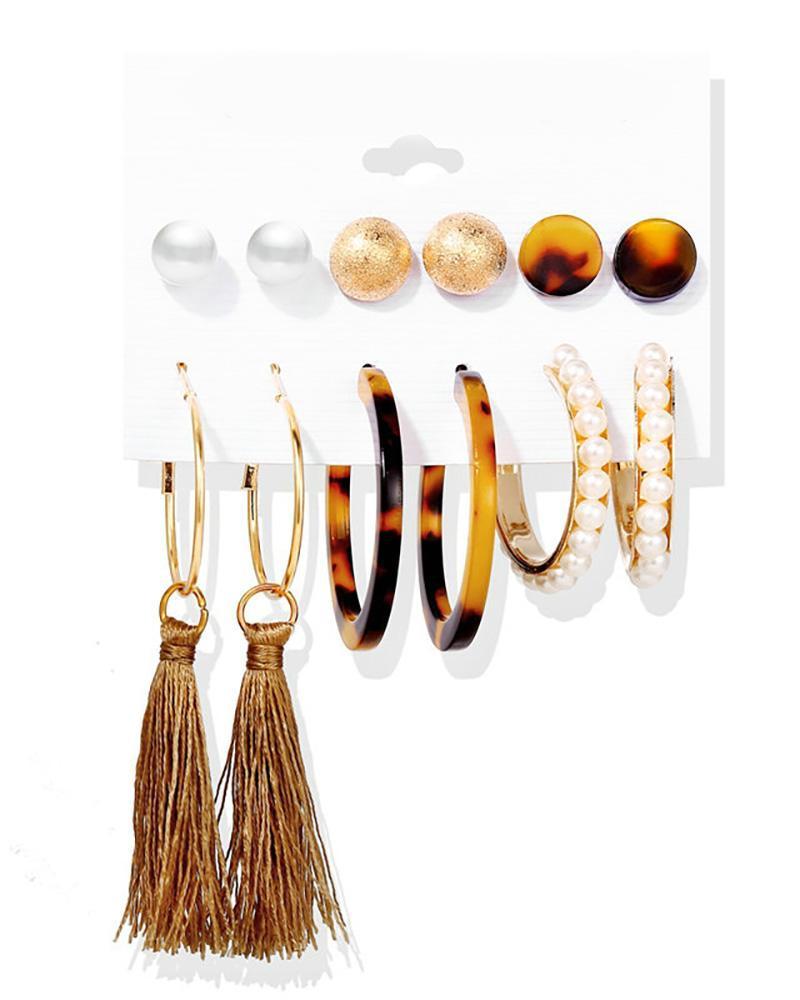 6 Pairs Beaded Hoop Ear Cuff Earring Set фото