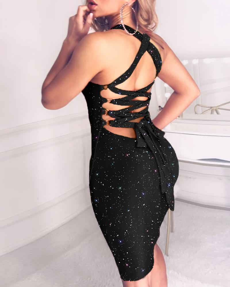 Glitter Tied Lace-Up Sequins Dress фото