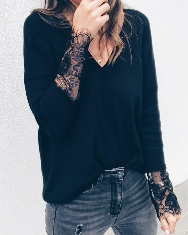 V Neck Lace Insert Casual Blouse фото