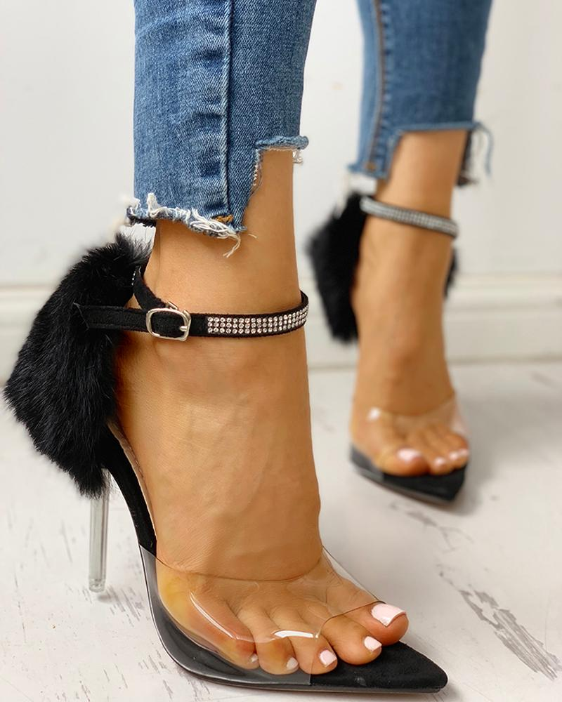 Transparent Studded Strap Fluffy Detail Heeled Sandals