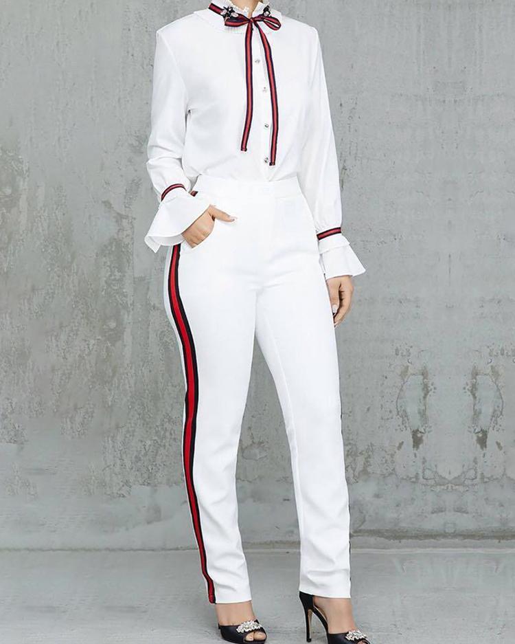 ivrose / Tied Neck Bell Sleeve Shirt & Striped Tape Side Pant Sets