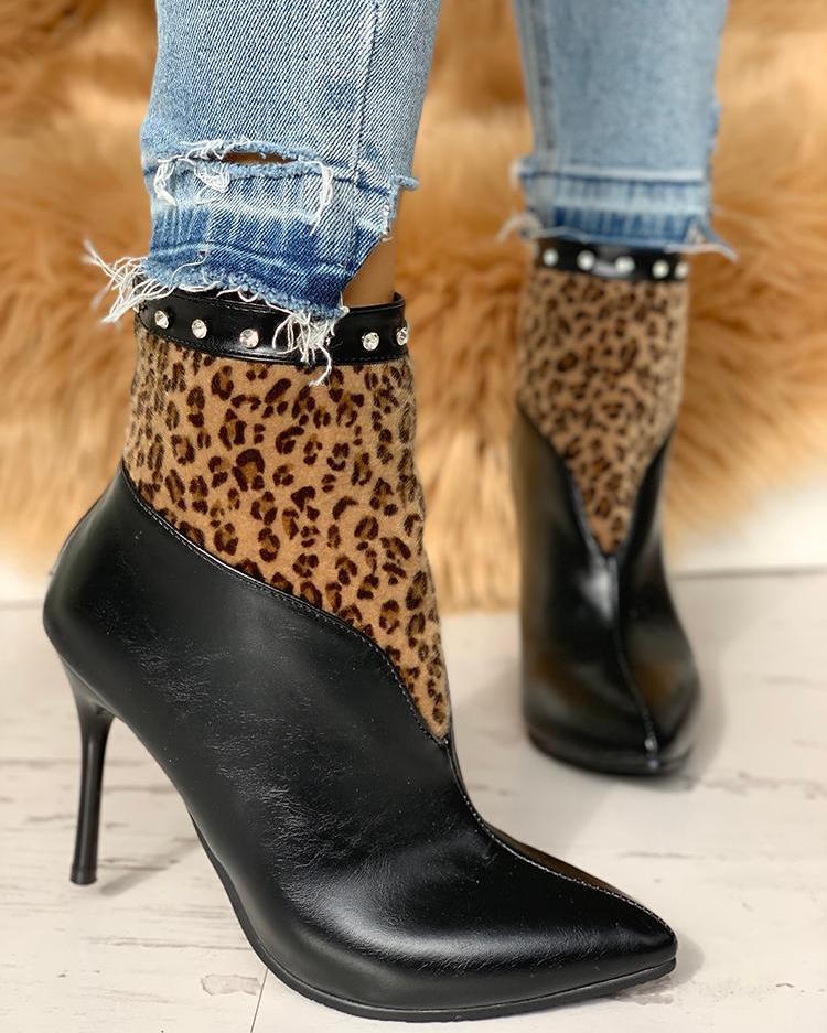 Leopard Insert Thin Heeled Boots