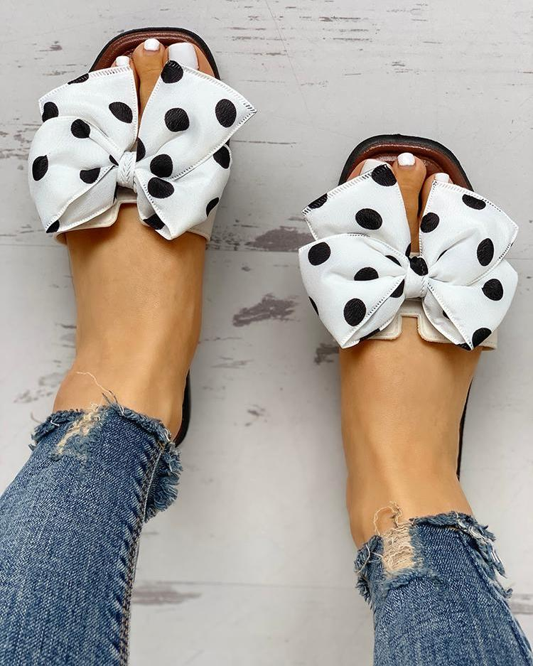 Bowknot Design Open Toe Sandals фото