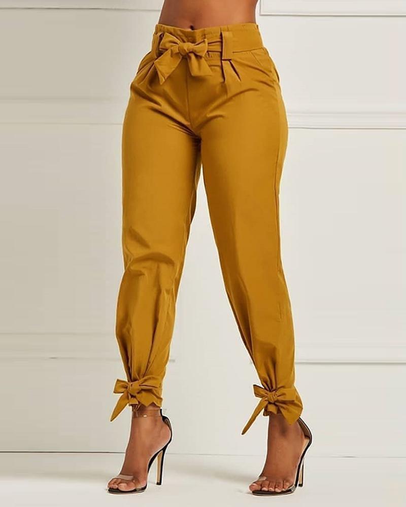 chicme / Pantalones de cintura alta con lazo sólido