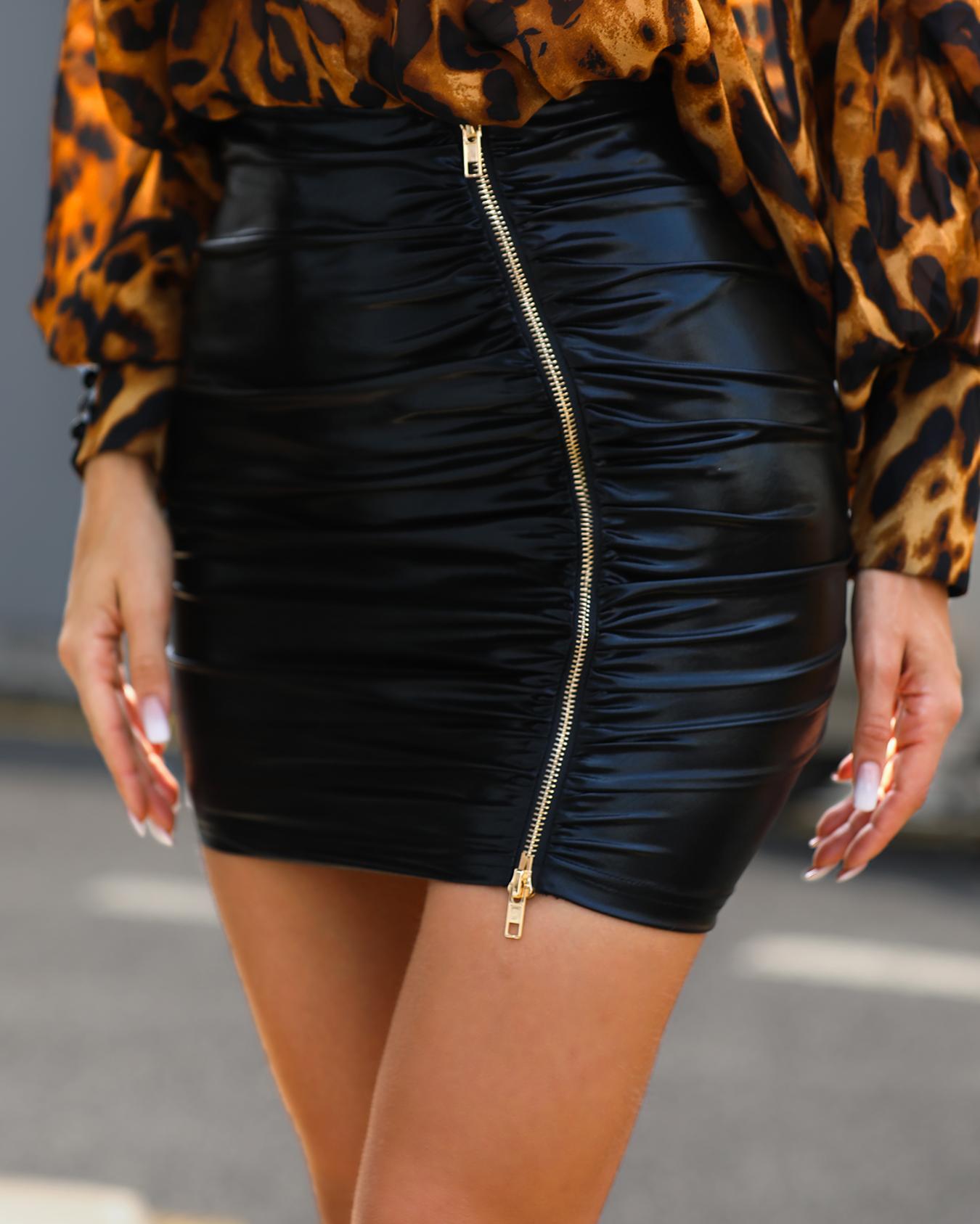 High Waist Ruched Zipper PU Slinky Skirt, Black