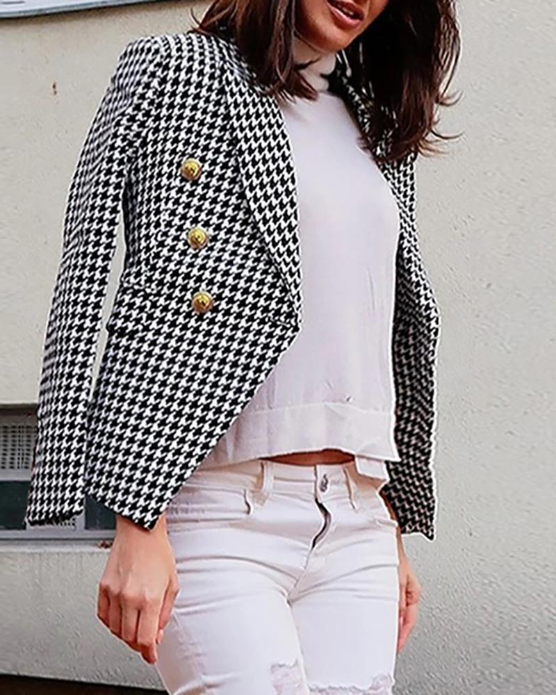 Houndstooth / Solid Button Design Blazer Coat фото