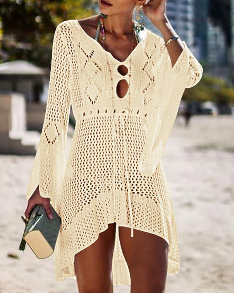 Hollow Out Knitted Cover Up фото