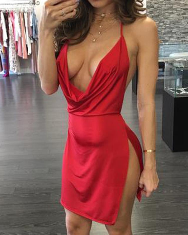 Halter Open Back Side Slit Party Dress