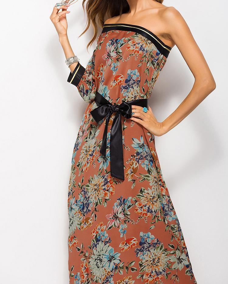 One Shoulder Belted Floral Print Maxi Dress, Orange