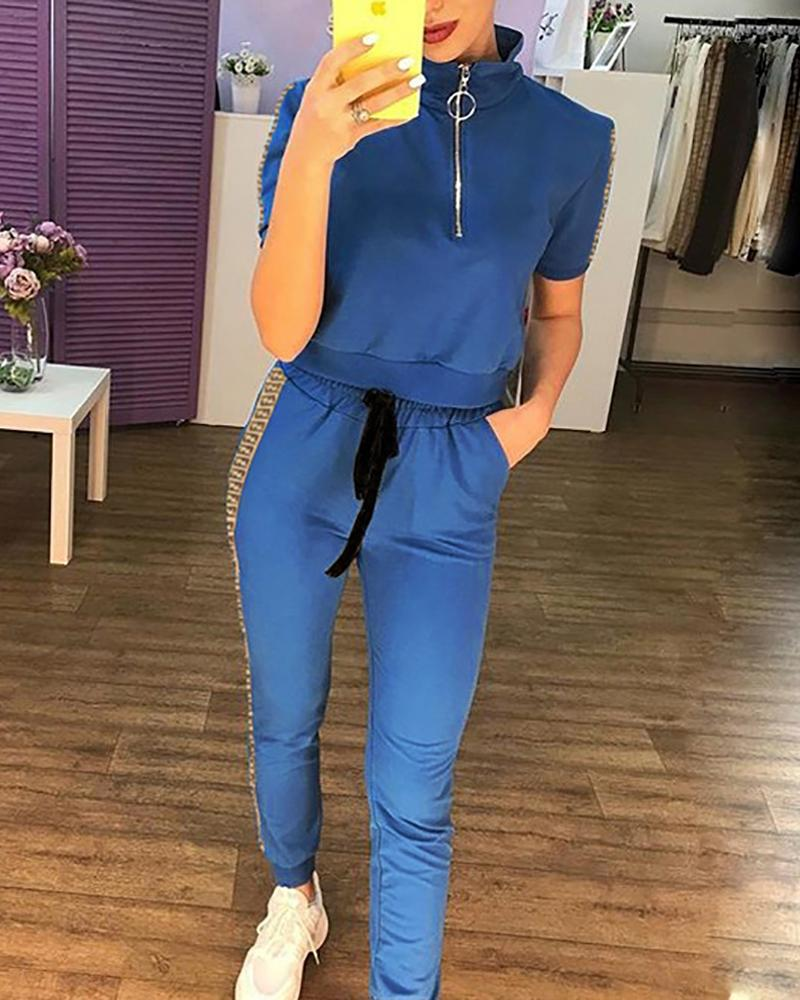 chicme / Stand Neck Short Sleeve Top and Pants Suit