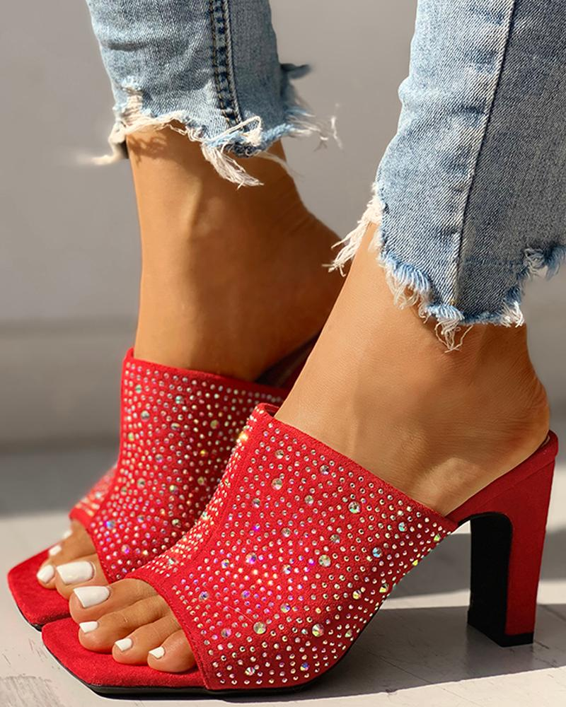 Glitter Hot Stamping Open Toe Slingback Chunky Heeled Sandals, Red