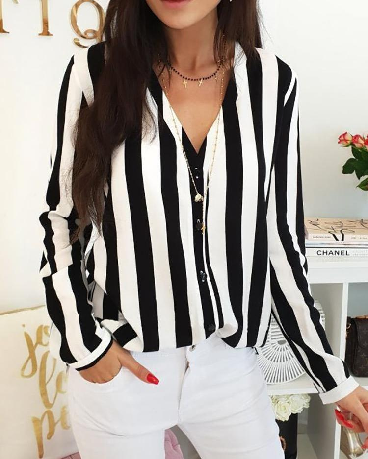 Stripes Button Up Long Sleeve Blouse фото