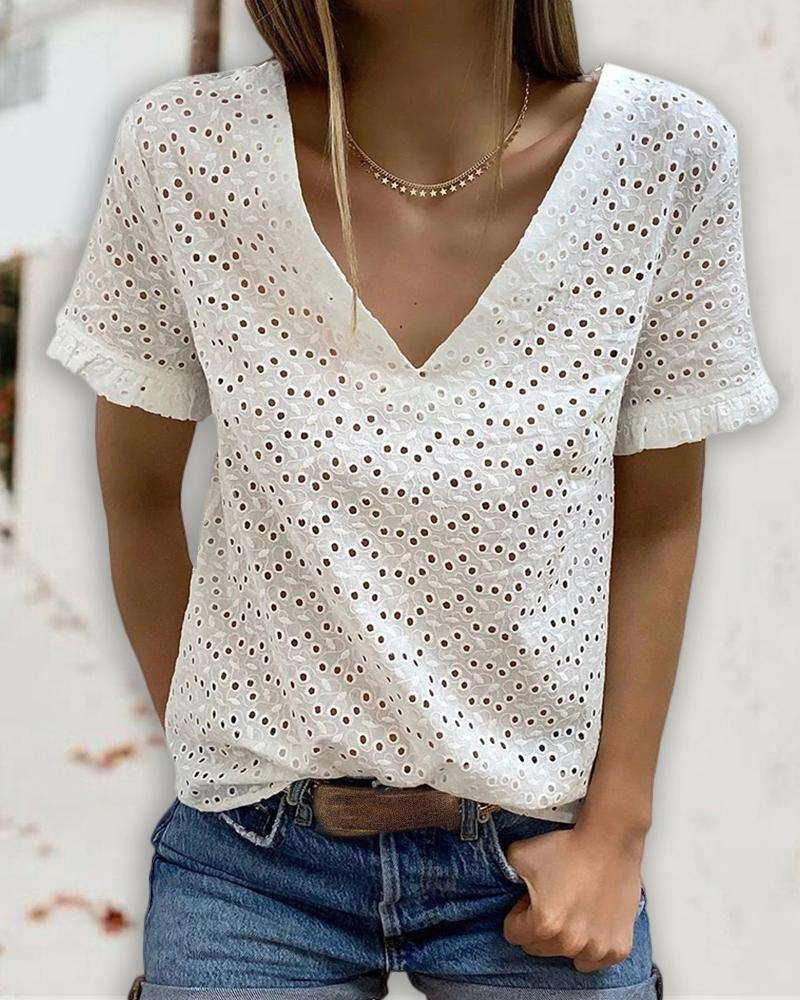 Eyelet Embroidery Backless Tied Detail T-shirt фото