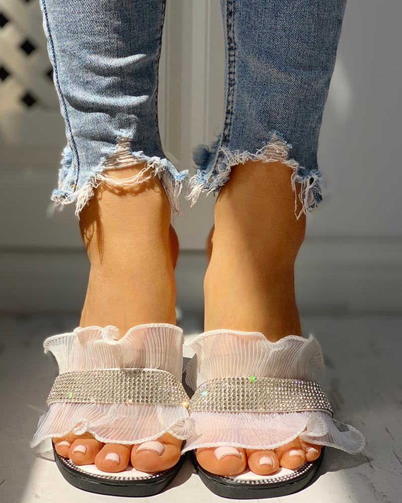 Studded Ruffles Mesh Design Casual Sandals фото