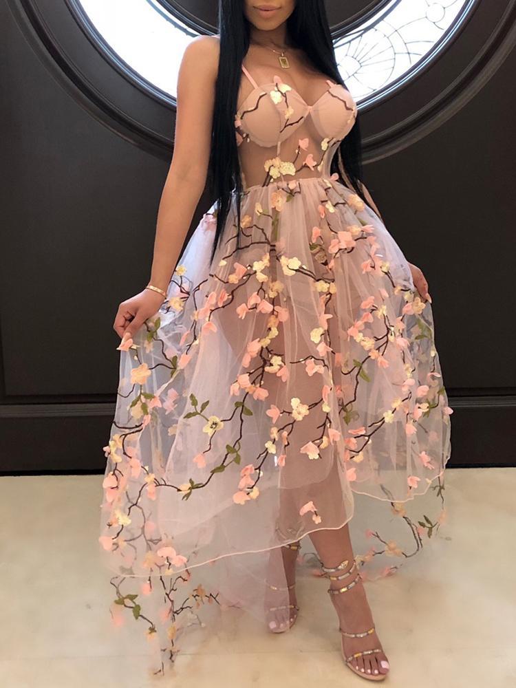 joyshoetique / Flower Applique Embroidery Sheer Mesh Maxi Dress