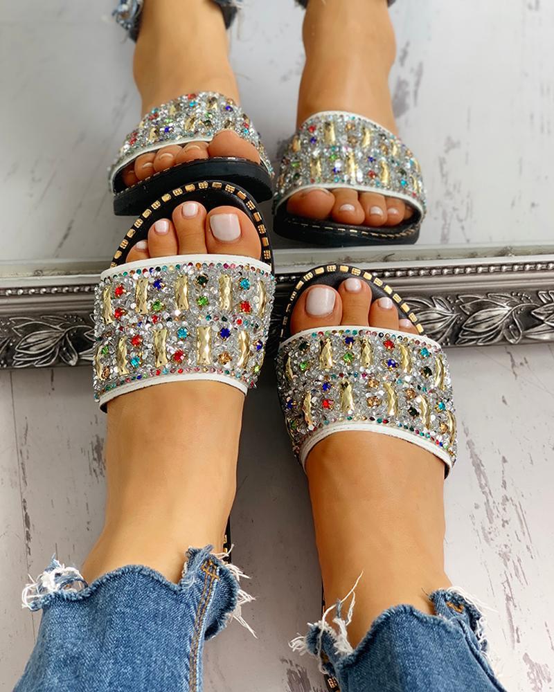 joyshoetique / Colorful Studded Sequins Detail Flat Sandals