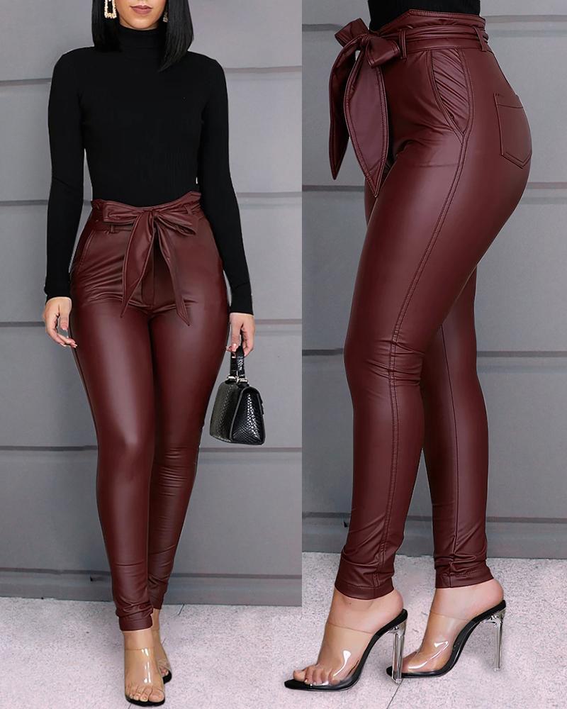 boutiquefeel / Pantalones de cuero sintético con cintura Paperbag