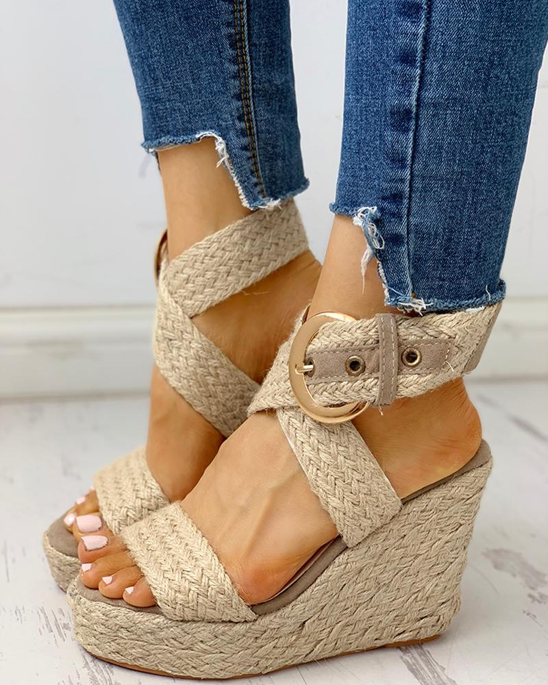 joyshoetique / Eyelet Buckled Braided Espadrille Wedge Sandals