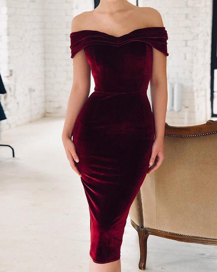 Off Shoulder Ruched Velvet Party Dress фото