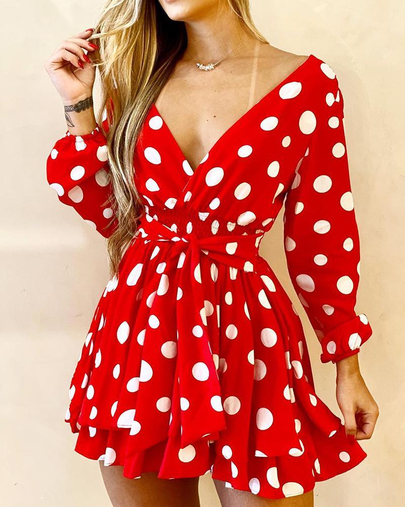 V-Neck Polka Dot Long Sleeve Dress фото