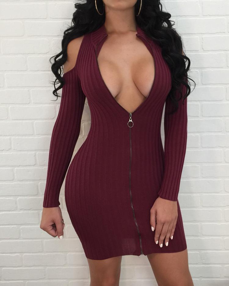 Cold Shoulder Zipper Up Ribbed Mini Dress фото
