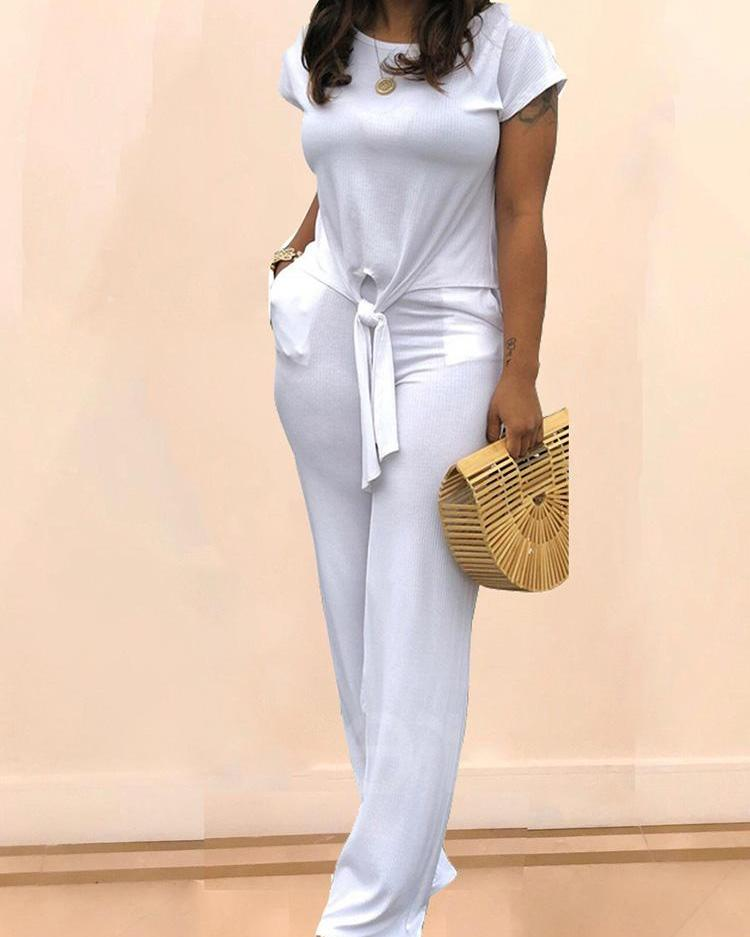 boutiquefeel / Round Neck Knotted Front Top & Pant Sets