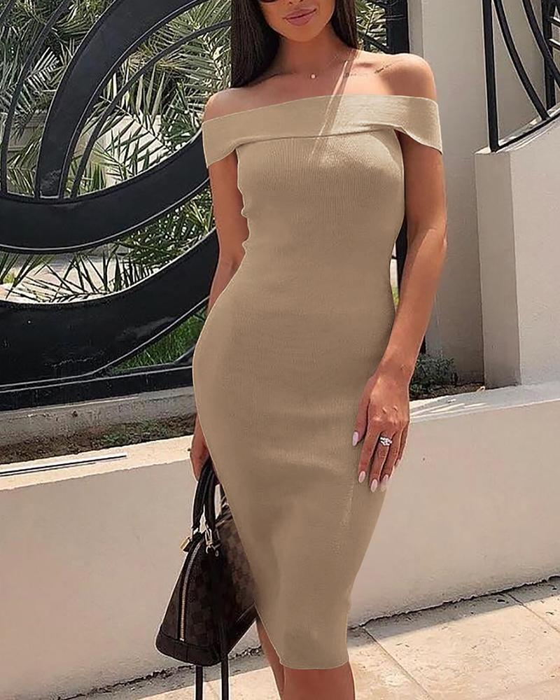 Fold Over Off Shoulder Bodycon Dress фото