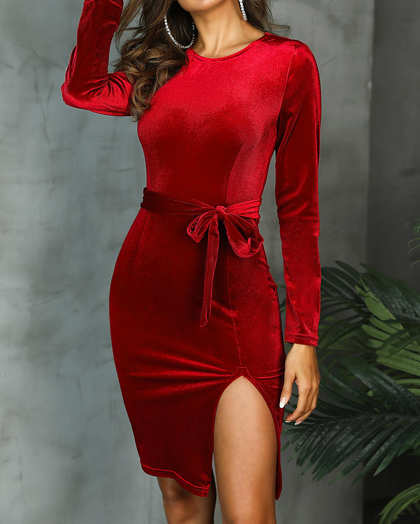 Velvet Slit Side Belted Long Sleeve Dress