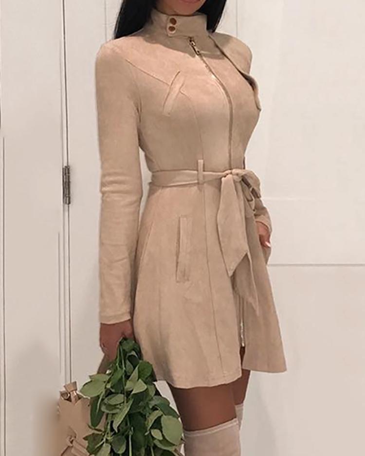 Zipper Front Pocket Design Belted Dress фото