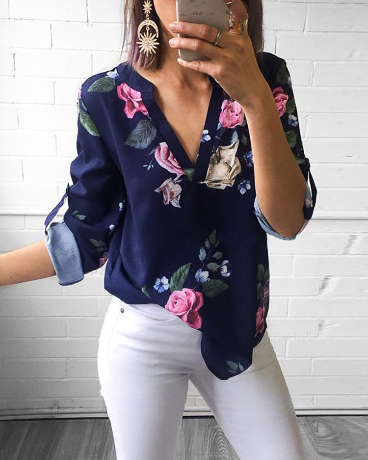 Floral V-Neck Roll-up Sleeve Covered Hem Blouse