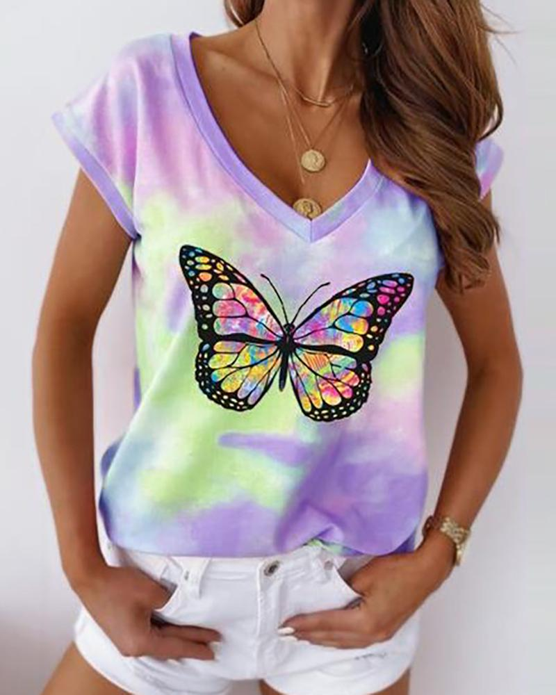 Butterfly Tie Dye Print Short Sleeve Casual T-shirt фото