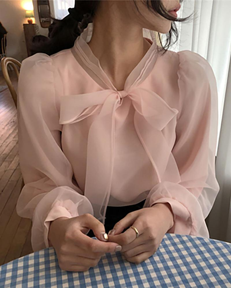 Knotted Sheer Mesh Puff Sleeve Top фото