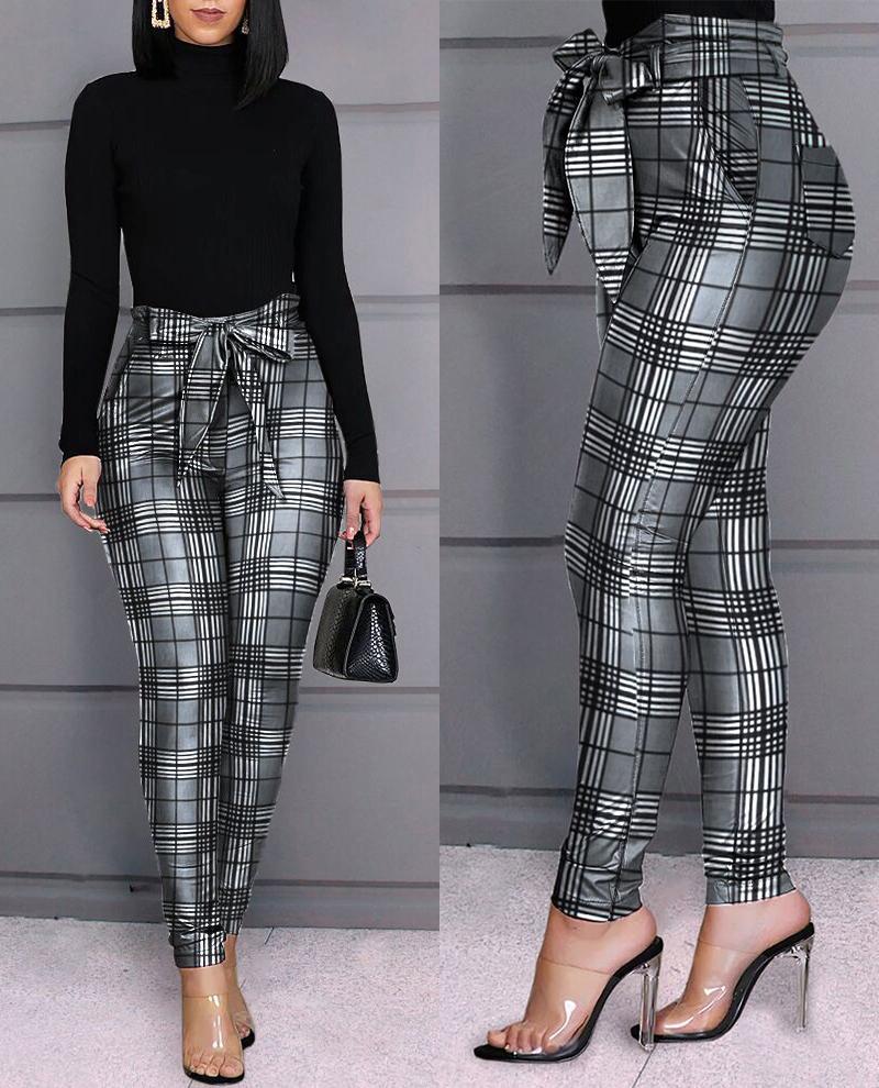 ivrose / Pantalones casuales de diseño de cuadrícula