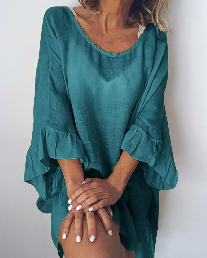 Cotton and Linen Stitching Ruffled Dress фото