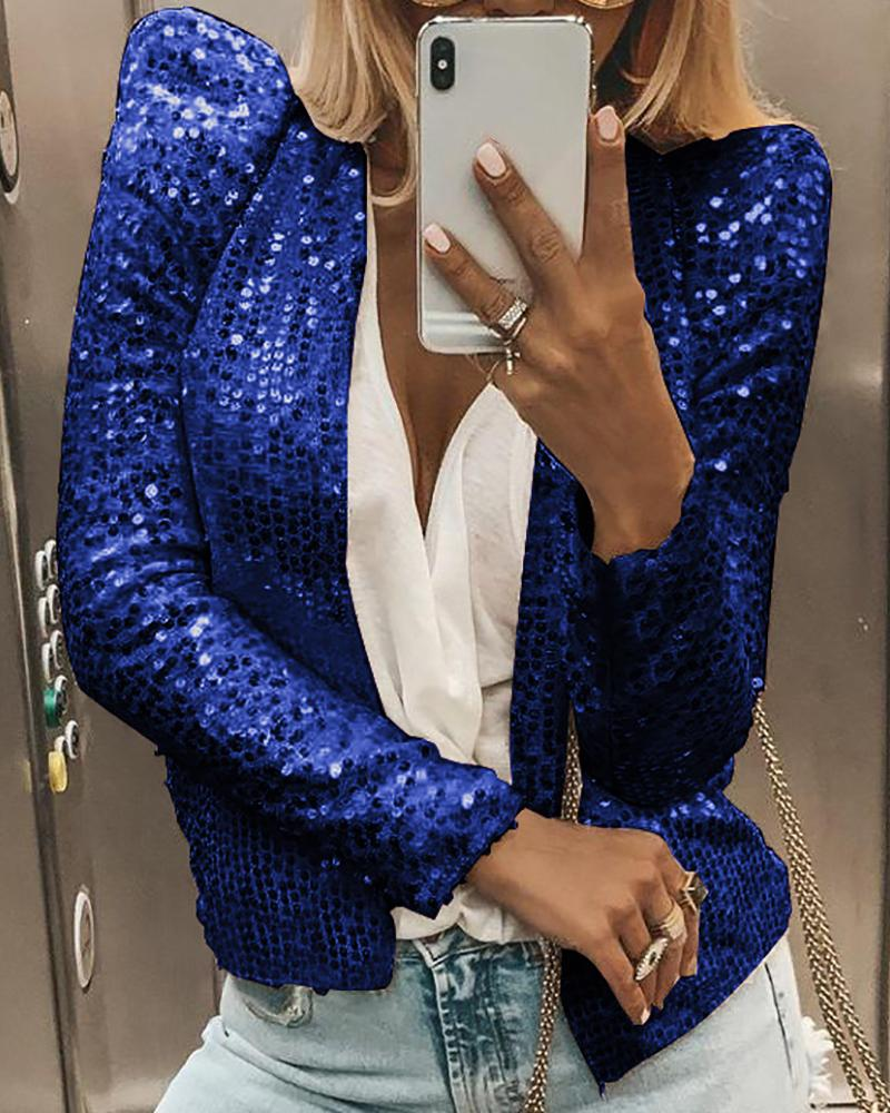 Glitter Open Front Puff Sleeve Sequins Coat фото
