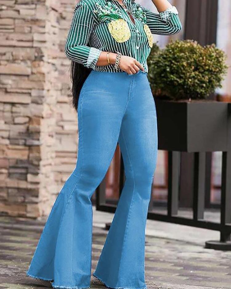 joyshoetique / Stretch Exaggerate Fringes Hem Flared Jeans