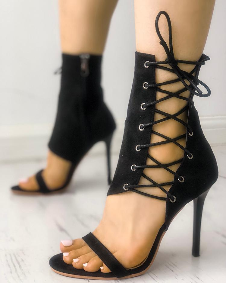 joyshoetique / Stylish Open Toe Lace-up Stiletto Sandals