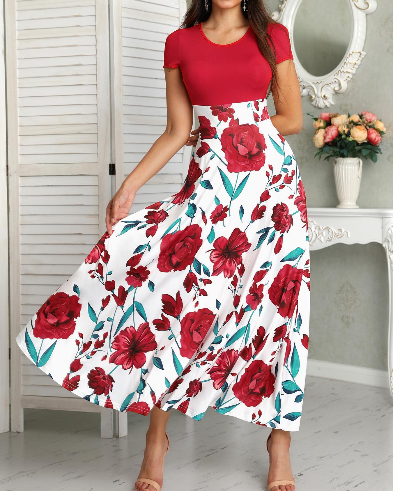 boutiquefeel / Vestido largo estampado floral de manga corta