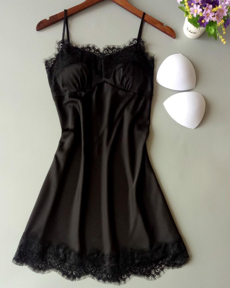 boutiquefeel / Spaghetti Strap Lace guarnição Cami Dress