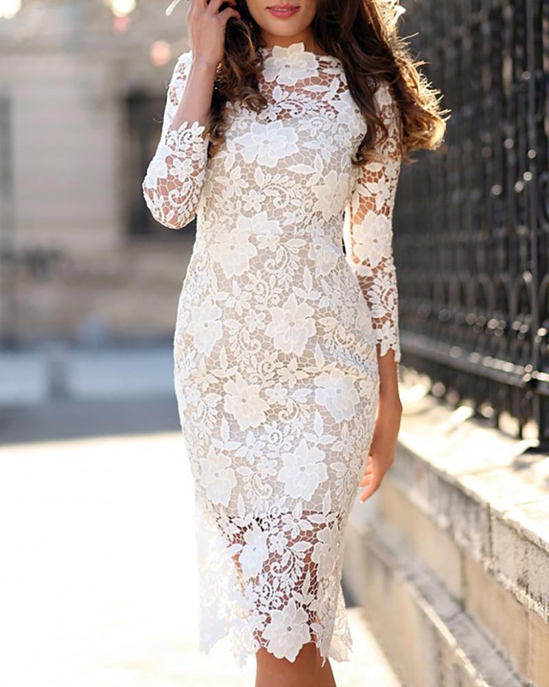 boutiquefeel / Vestido ajustado de encaje floral de ganchillo