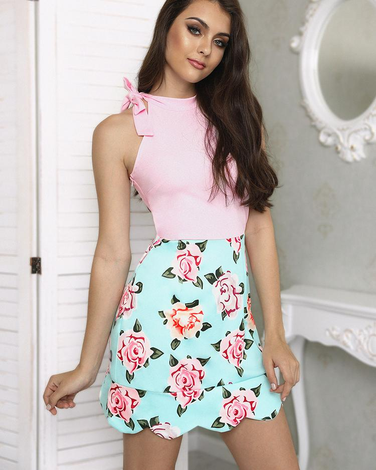 Floral Print Splicing Tied Wave Hem Mini Dress