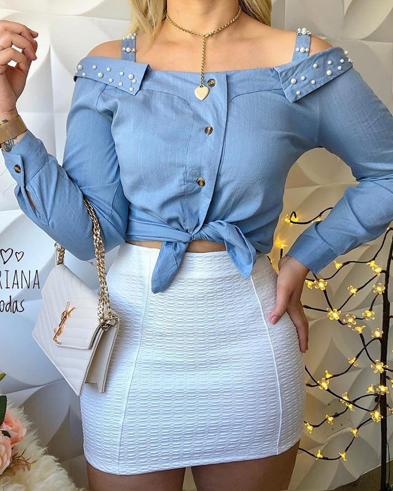 chicme / Blusa de detalhe frisado ombro frisado